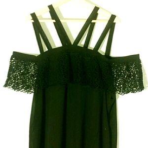 NWT + C.O.C. Black Double Strap Crochet Top